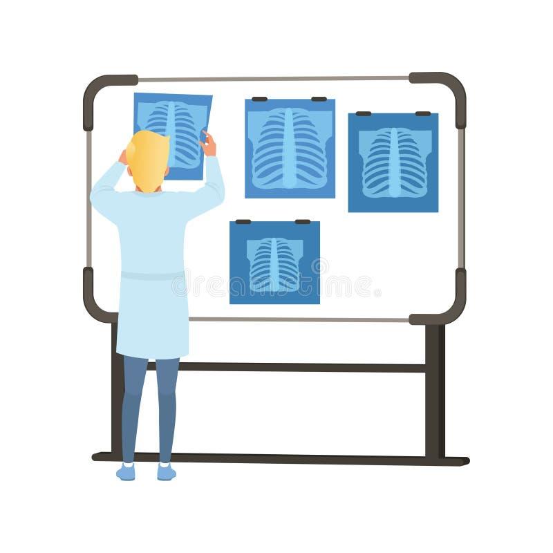 Mannetje die MRI-resultaten van thoraxaftasten bekijken op het scherm, een gezondheidszorg en een vectorillustratie van het genee stock illustratie