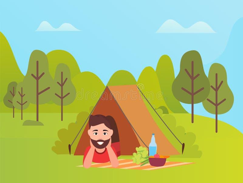 Mannetje die in Tent, Berg en Bomenvector liggen royalty-vrije illustratie