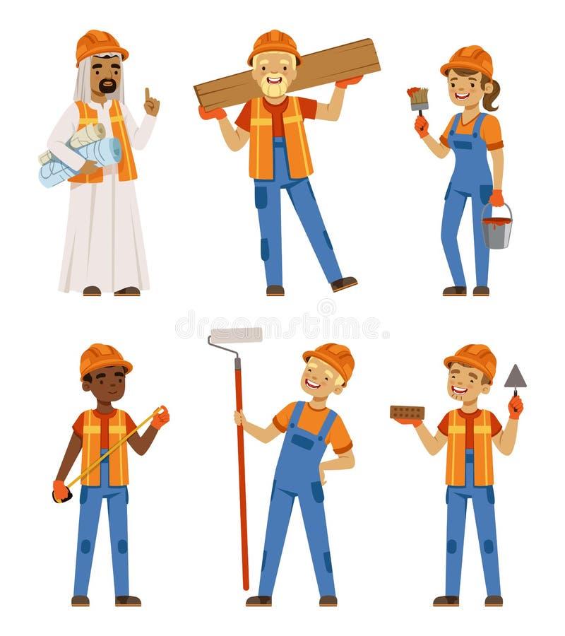 Mannetje en vrouwelijke werknemers in eenvormig Ingenieurs en bouwers op het werk De vectorset van tekens isoleert vector illustratie