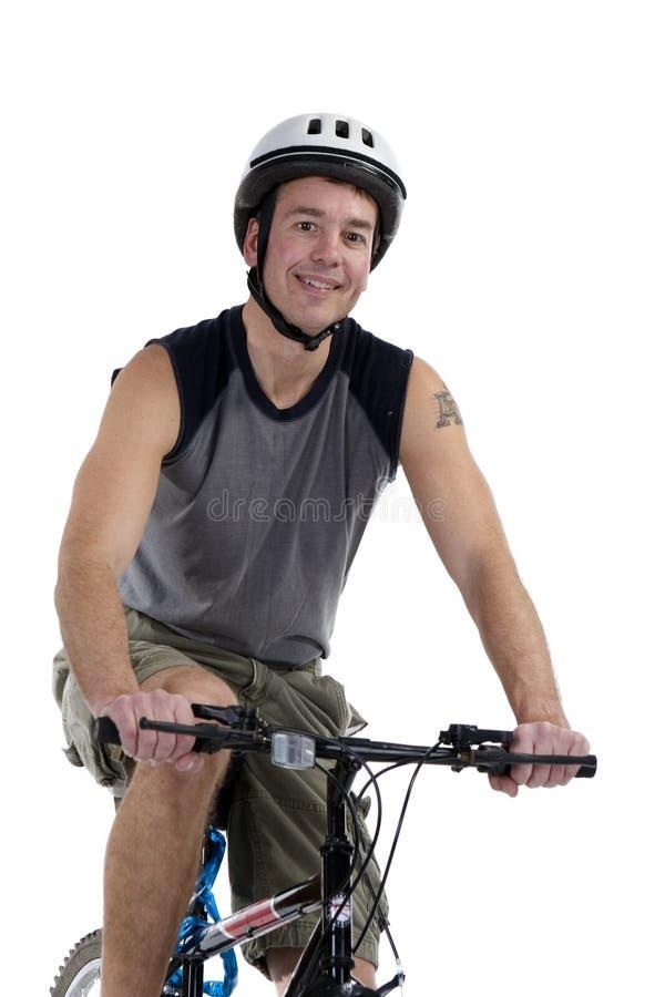 Mannetje met fiets stock foto