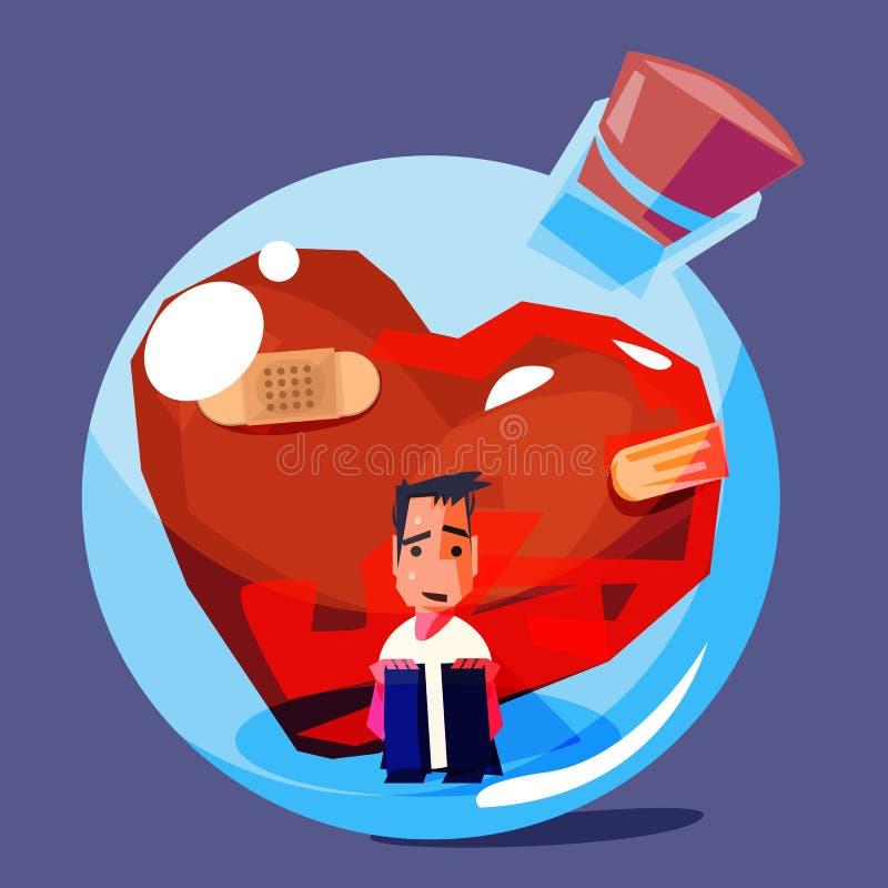 Mannetje met gebroken en oud hart in glasfles droevig emotioneel concept - vector vector illustratie