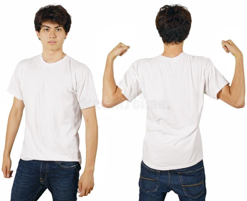 Mannetje met leeg wit overhemd stock fotografie