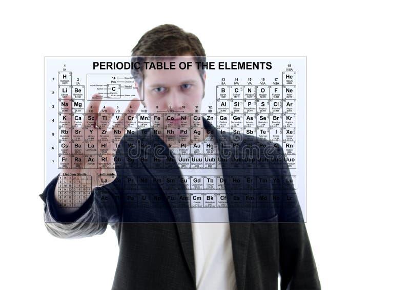 Mannetje met Lijst Pereodic van Elementen stock afbeelding