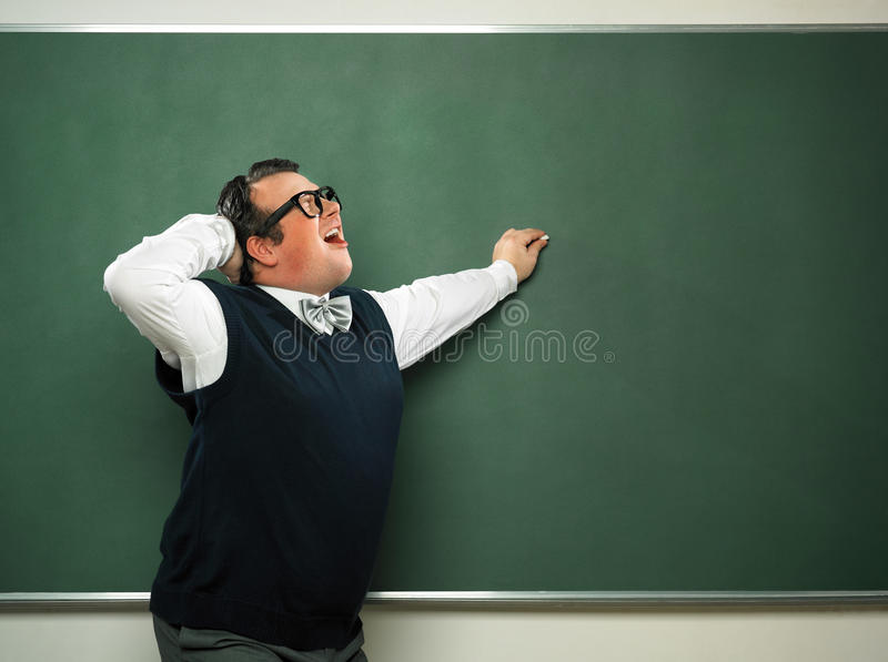Mannetje nerd in extatische stemming royalty-vrije stock afbeeldingen