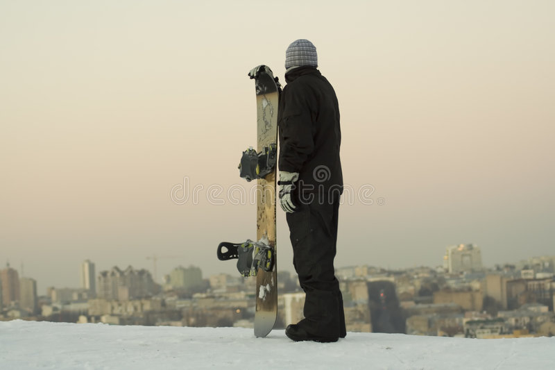 Mannetje snowboarder royalty-vrije stock fotografie