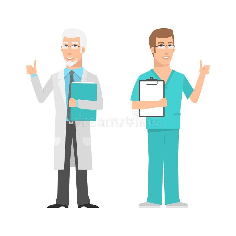 Mannetjes wetenschapper en artsen het tonen beduimelt omhoog royalty-vrije illustratie