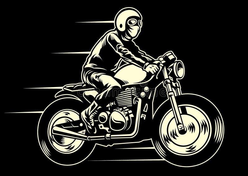 Mannfahrt ein klassisches kundenspezifisches Motorrad vektor abbildung