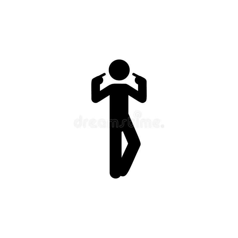 Mannfinger, selbst Ikone Element des Mannes Ikone für bewegliche Konzept und Netz apps zeigend Finger des ausführlichen Mannes, s lizenzfreie abbildung