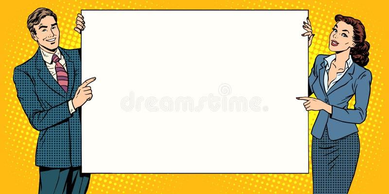 Mannfrauen-Plakatwerbung Ihre Marke hier lizenzfreies stockbild