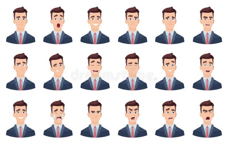 Manngef?hle Gesichtsgesichtstraurigkeitshasslächelnhauptporträt-Vektorcharaktere der charaktere unterschiedliches stock abbildung