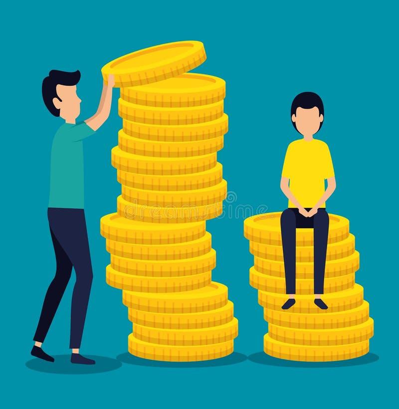 Manngeschäftsteamwork mit Münzengeld lizenzfreie abbildung