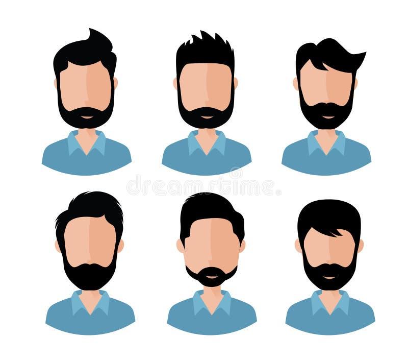 Manngesichter mit verschiedener Frisur und Bart vektor abbildung