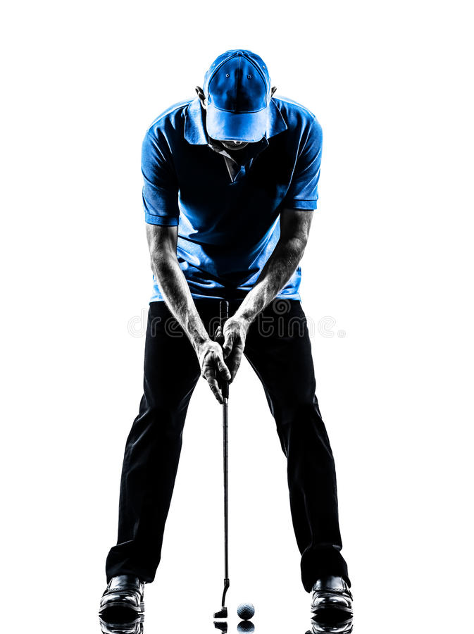 Manngolfspieler, Der Schattenbild Setzend Golf Spielt Stockfoto