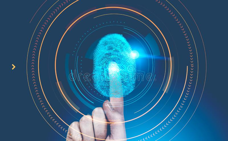 Mannhand-dactylogram Schnittstelle, blaues hud lizenzfreie stockfotografie