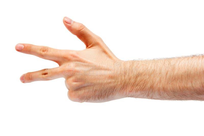 Mannhand, die ein Zeichen zeigt lizenzfreies stockfoto