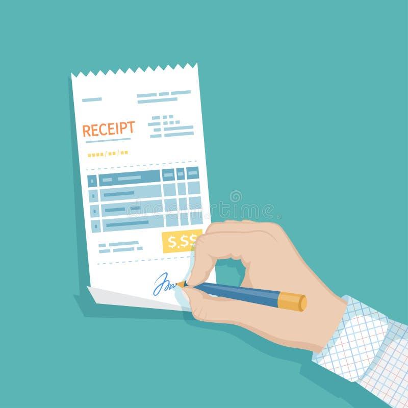 Mannhandunterzeichnender Empfang Zahlung von Waren, Service, Dienstprogramm, Restaurant Fakturieren Sie, überprüfen Sie, Rechnung vektor abbildung