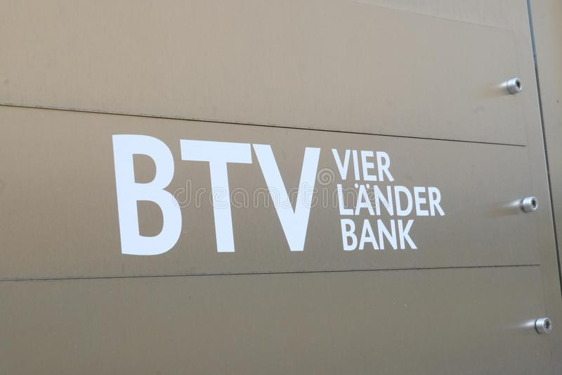 BTV vier Lander Bank branch sign. Mannheim, Germany - August 23, 2017: BTV vier Lander Bank signage. The Bank for Tyrol and Vorarlberg had its roots since 1904 stock photos