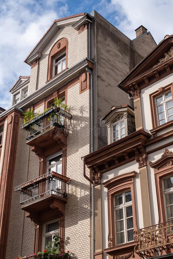 MANNHEIM, GERMANY, 05/11/2019: typical 19th century German residential buildings. External facade royalty free stock photo