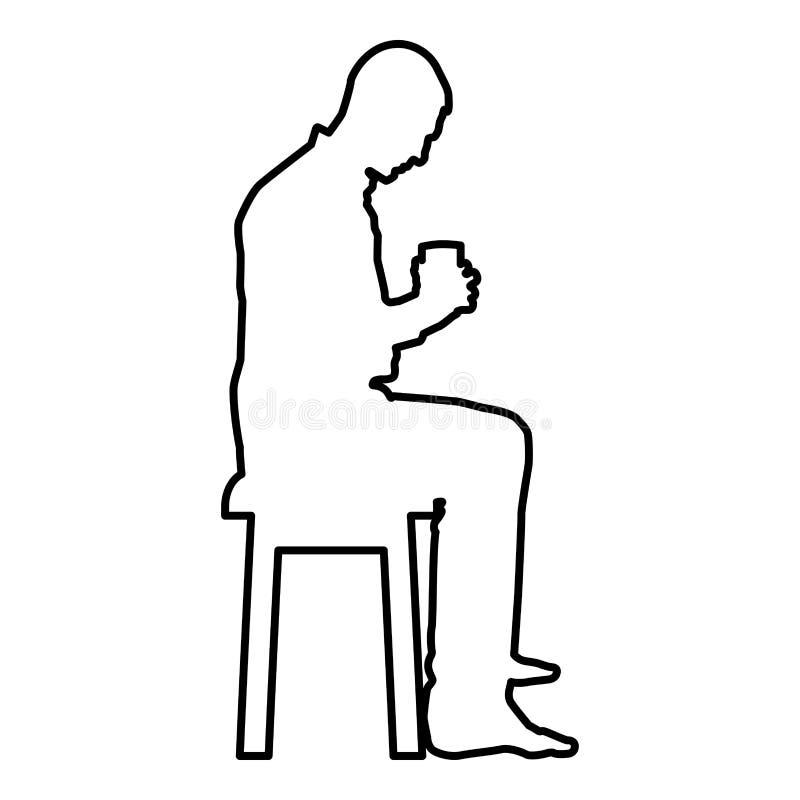 Mannholdingbecher und den Inhalt nach innen betrachten beim Sitzen auf Schemel Konzept der Ruhe- und Ikonenschwarzfarbe des häusl vektor abbildung