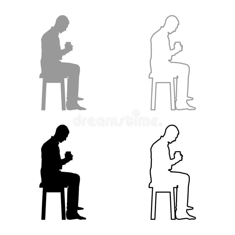 Mannholdingbecher und den Inhalt nach innen betrachten, während das Sitzen auf Schemel Konzept von Ruhe und von Ikone des häuslic vektor abbildung