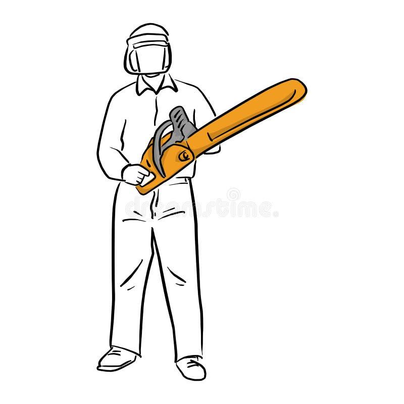 Mannholdingkettensäge mit der Sicherheitsvektorillustrationsskizzen-Gekritzelhand gezeichnet mit den schwarzen Linien lokalisiert lizenzfreie abbildung