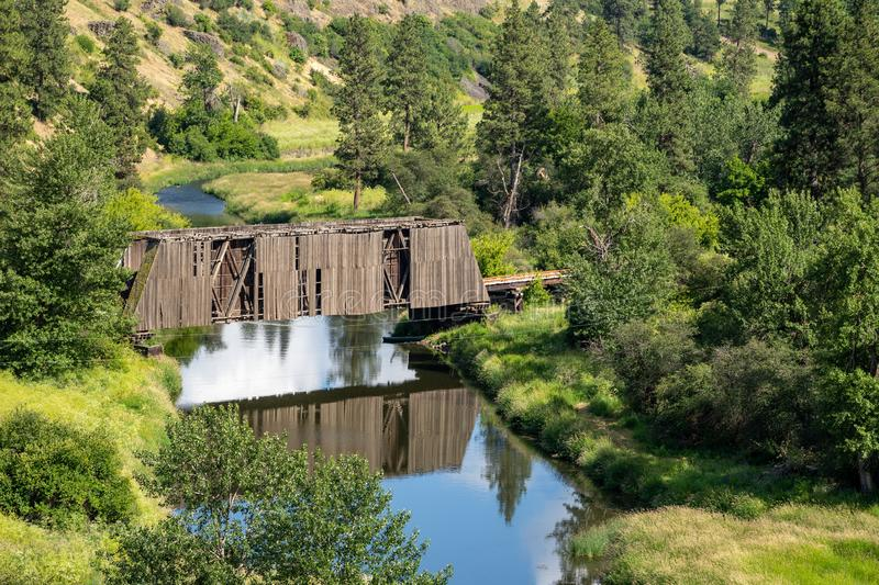 Manning-Rye Covered Bridge in the Palouse region of Washington State, spans the Palouse river in Colfax, WA royalty free stock photo
