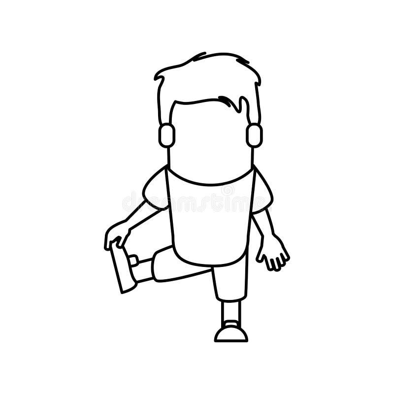 Mannkarikatur, die Design ausdehnt stock abbildung