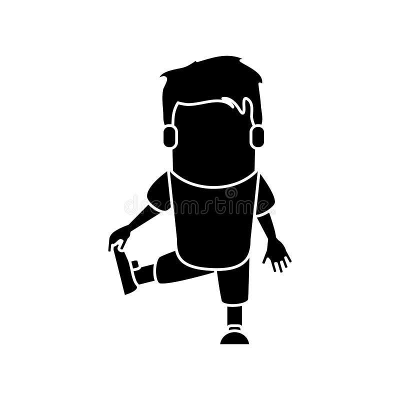 Mannkarikatur, die Design ausdehnt lizenzfreie abbildung