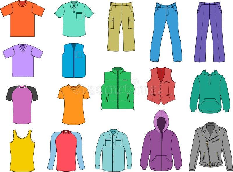 Mannkleidung färbte Ansammlung lizenzfreie abbildung