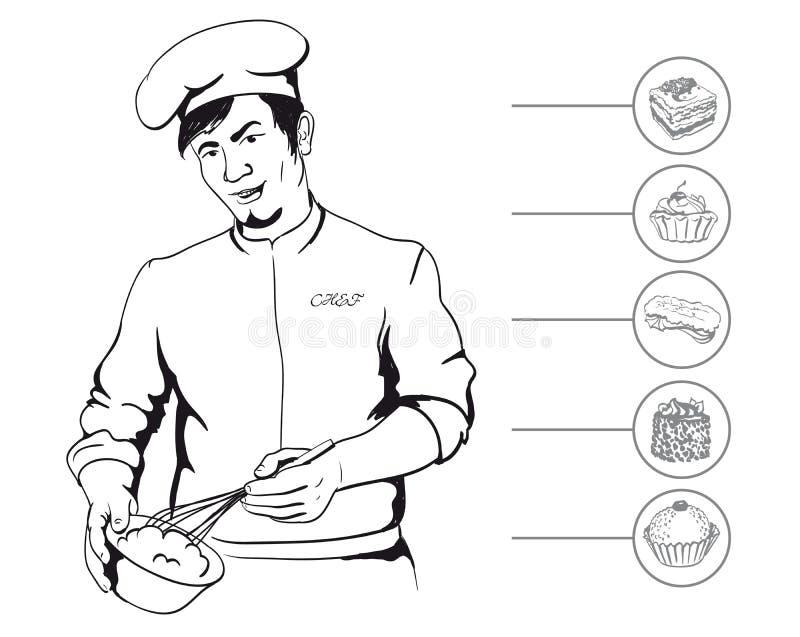 Mannkonditor während des Kochens stock abbildung