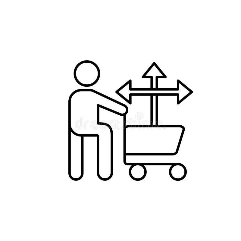 Mannkorbkaufen-Entscheidungsikone Element der Verbraucherverhaltenlinie Ikone stock abbildung