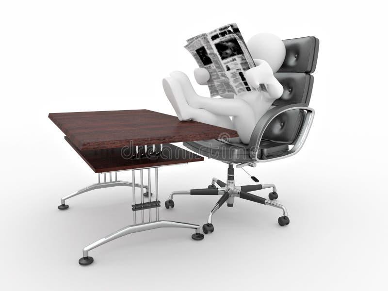 Mannlesezeitung im Büro. vektor abbildung