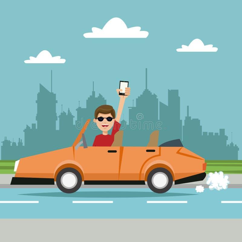 Mannmobiltelefonsportwagen-Stadthintergrund vektor abbildung