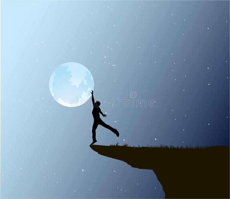 Mannnote der Mond stock abbildung