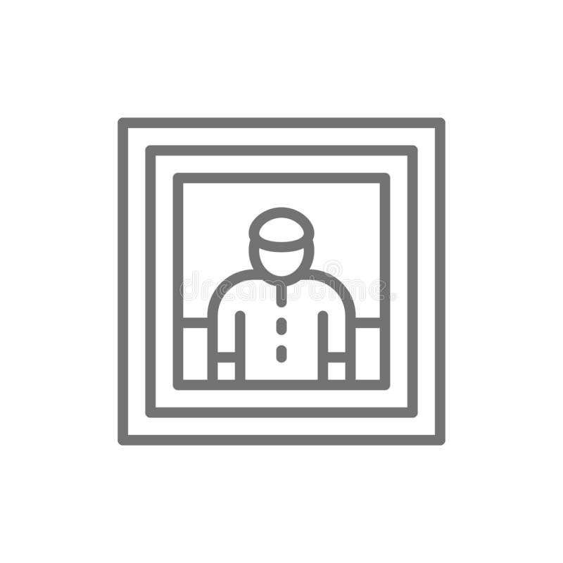Mannporträt, Malerei, Foto, selfie Linie Ikone vektor abbildung