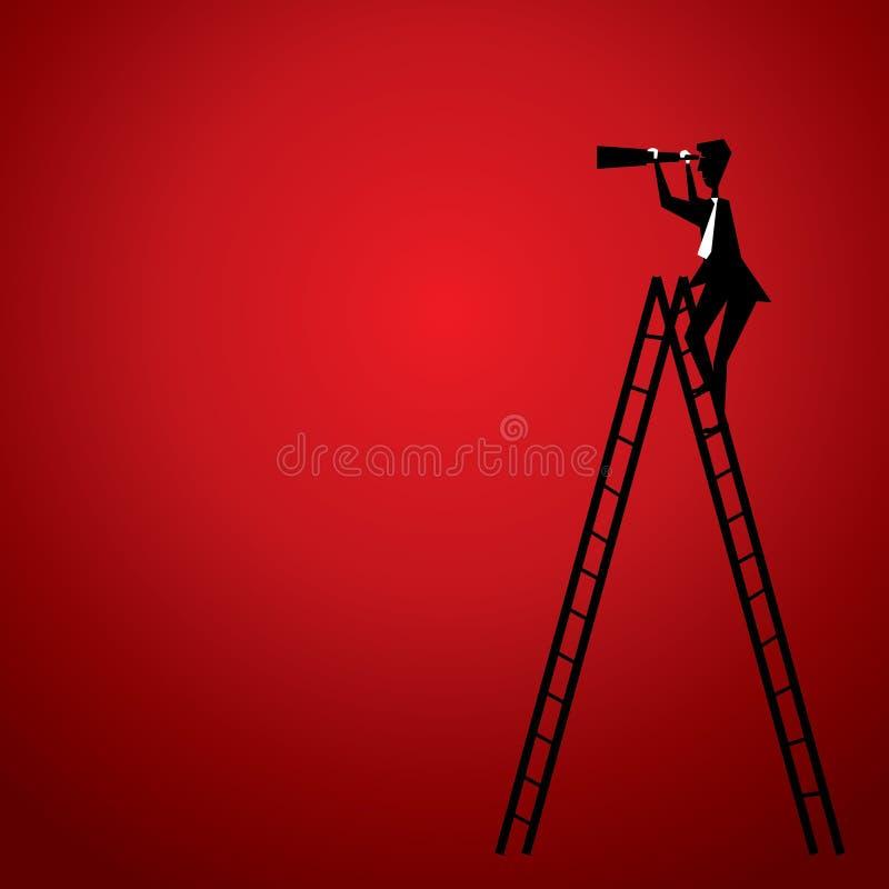 Mannrecherche durch Teleskop lizenzfreie abbildung