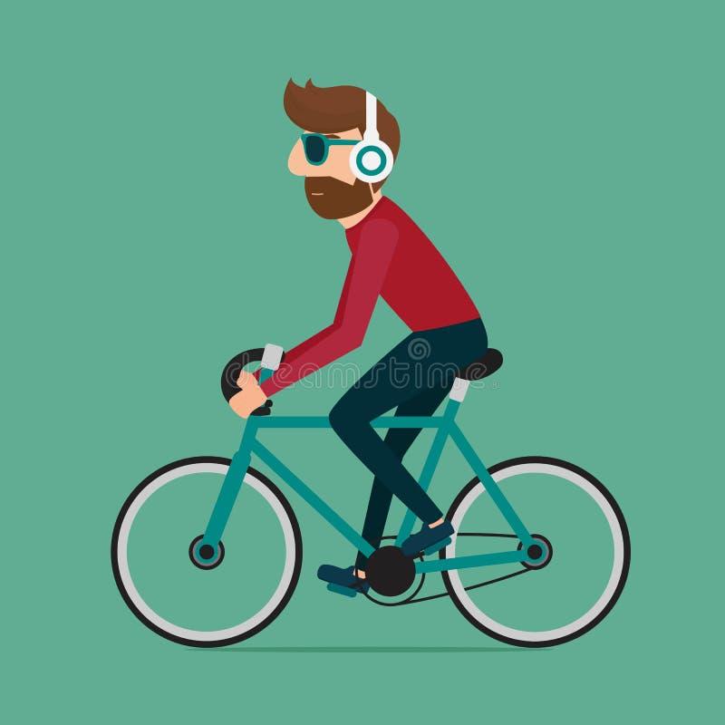 Mannreitfahrrad Hippie-Charakter auf Fahrrad stock abbildung