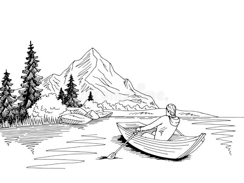 Mannrudersport in einem Bootsseegebirgsgrafischen schwarzen weißen Landschaftsskizzen-Illustrationsvektor vektor abbildung