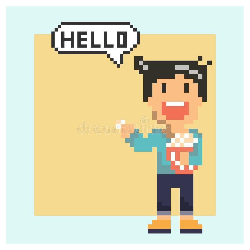 Mannsagen köstlich in der Pixelkunst stock abbildung