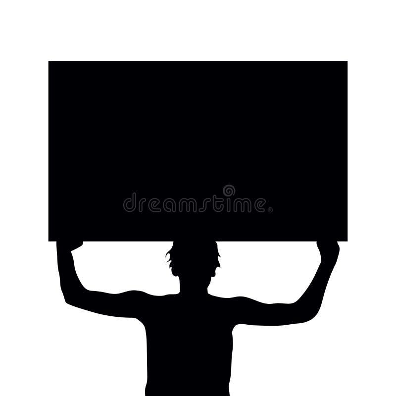 Mannschattenbildholding-Protestzeichen stockfotos
