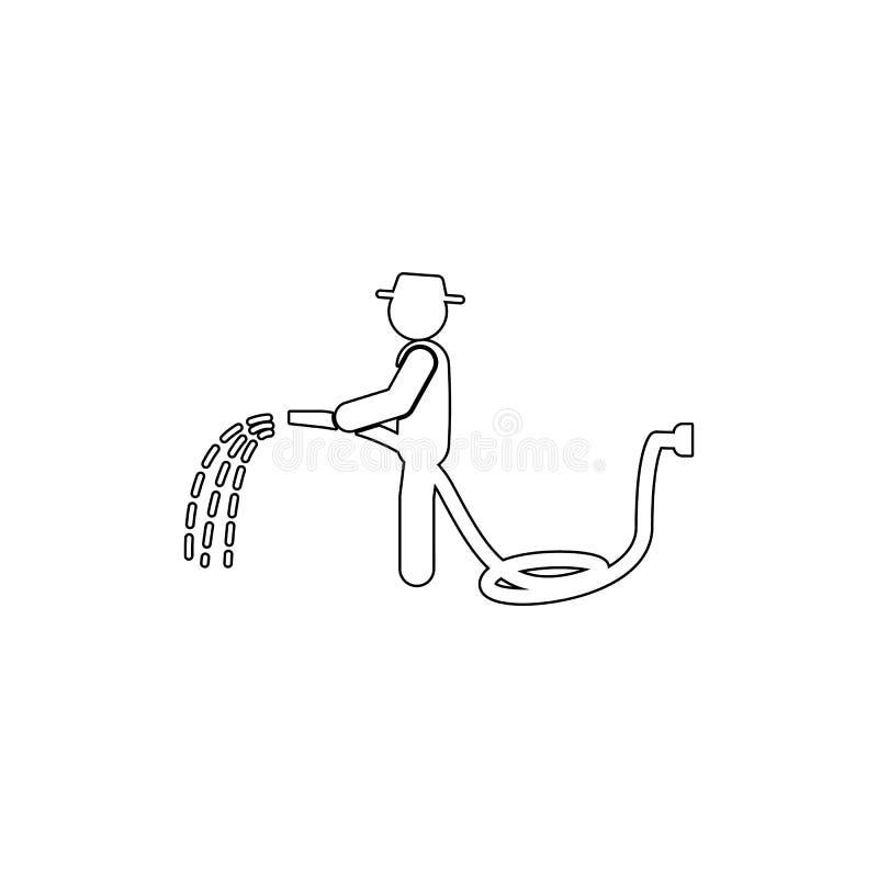 Mannschlauchikone Element der Gartenarbeit für bewegliche Konzept und Netz Appsillustration Dünne Linie Ikone für Website Design  stock abbildung