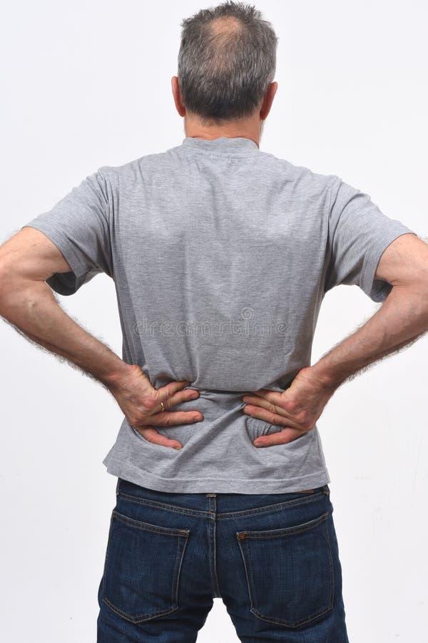 Mannschmerz auf Rückseite stockbilder