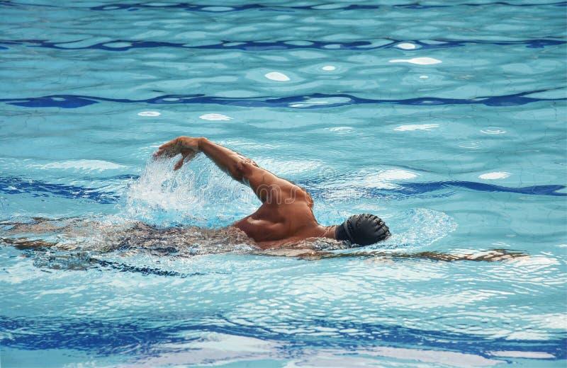 Mannschwimmen in einem Swimmingpool stockfotos