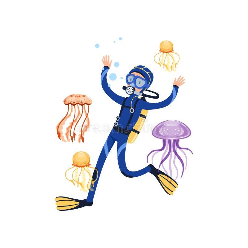 Mannschwimmen mit wunderbaren Meerestieren Bunte Quallen Karikatursporttaucher im blauen Wetsuit, Maske, Flipper stock abbildung