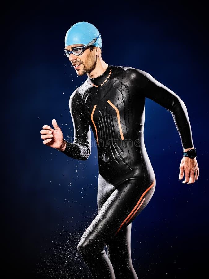 Mannschwimmerschwimmen Triathlon ironman lokalisiert stockfotos
