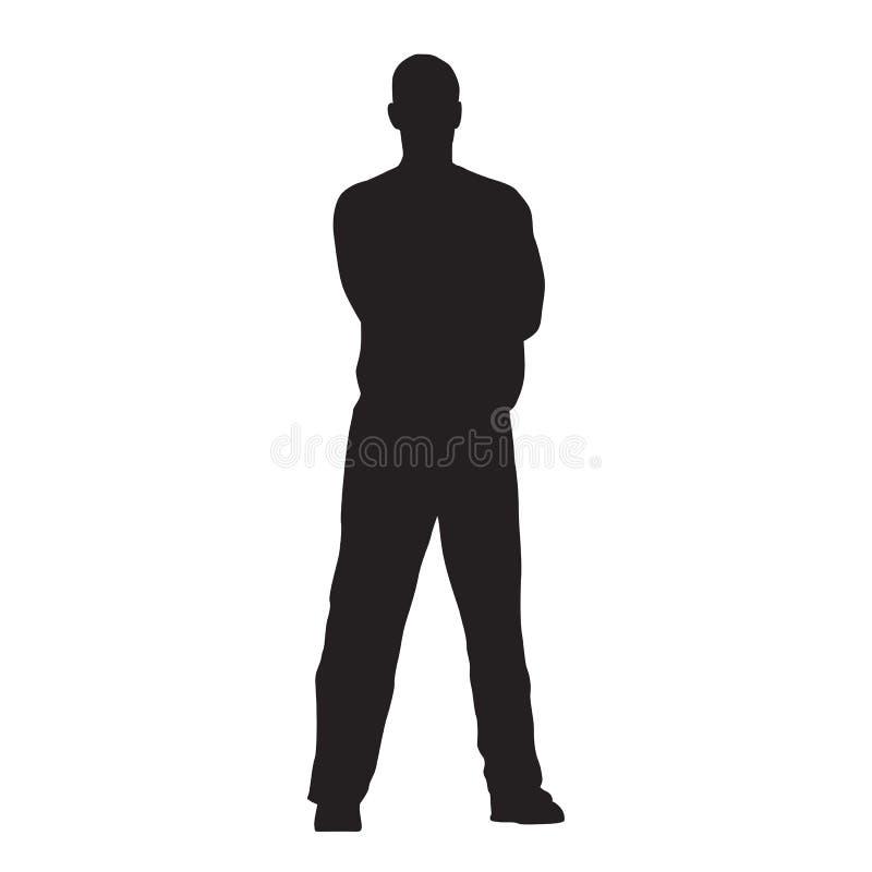 Mannstände mit seinen Beinen gekrümmt und seinen Armen gefaltet lizenzfreie abbildung