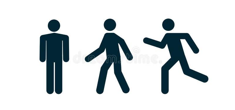 Mannstandweg- und -laufpiktogrammikone Mannfußgängerzeichenleute- und -straßenverkehrsvektorschattenbild lizenzfreie abbildung