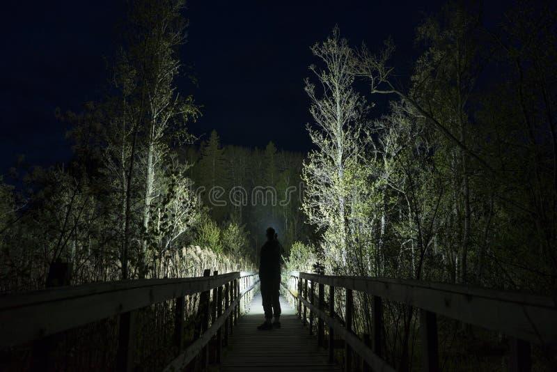 Mannstellung im Freien nachts dunkles gl?nzend mit Taschenlampe lizenzfreie stockfotografie