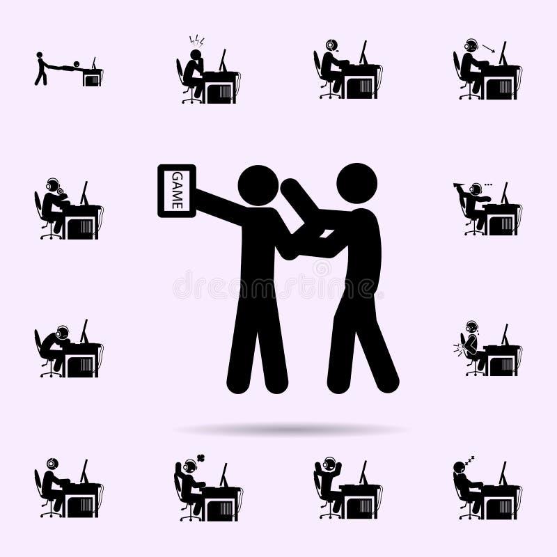 Mannsuchtikone Gamerikonen-Universalsatz f?r Netz und Mobile lizenzfreie abbildung