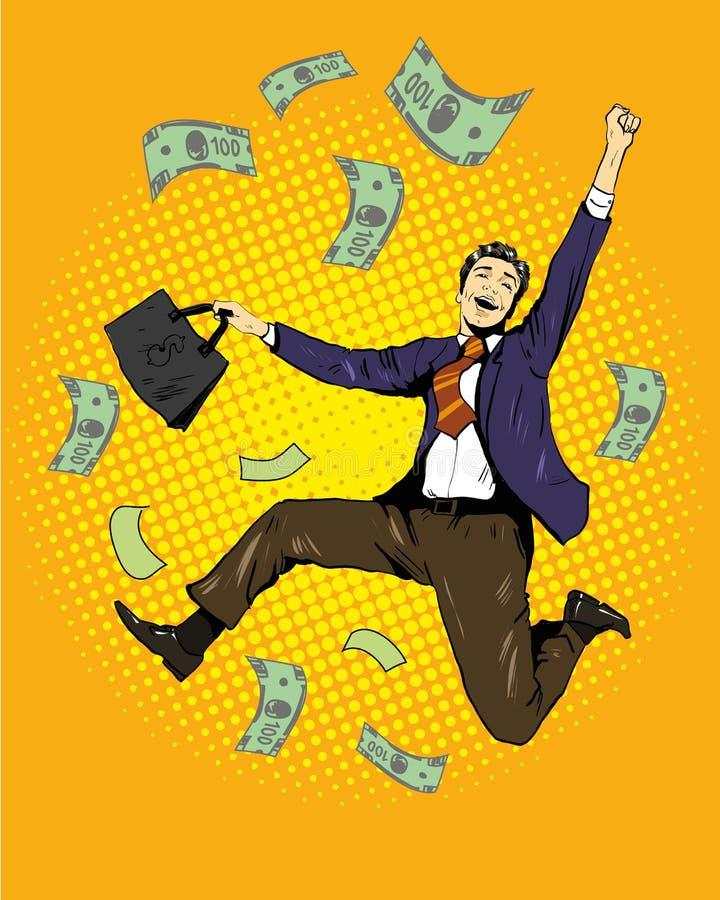 Manntanzen mit Geldfliegen herum Vektorillustration in der Retro- komischen Pop-Arten-Art Geschäft und Finanzerfolg lizenzfreie abbildung